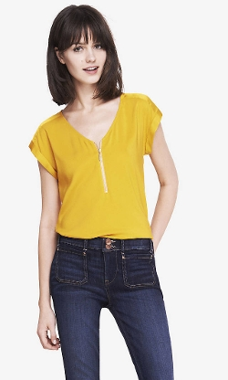 Express - Mixed Texture Zip Front Tee Shirt