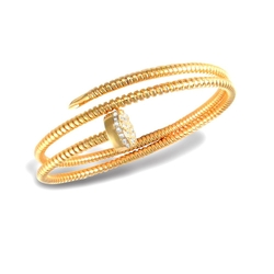 Jewelco London - Double Nail Bangle Gold Plated Bracelet