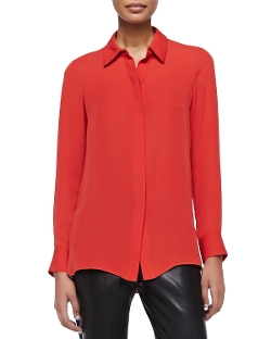 Vince - Long-Sleeve Silk Blouse