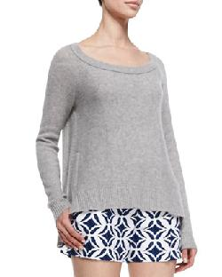 Diane von Furstenberg  - Long-Sleeve Cashmere Sweater, Heather Gray