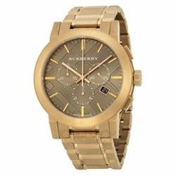 Burberry  - Taupe Chronograph Dial Rose Gold Plated Steel Mens Watch