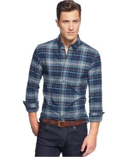 Club Room - Long Sleeve Plaid Flannel Shirt
