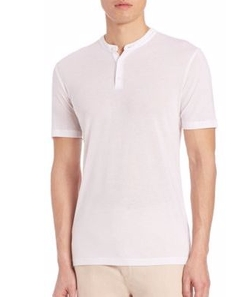 Saks Fifth Avenue Collection  - Cotton Henley Tee Shirt