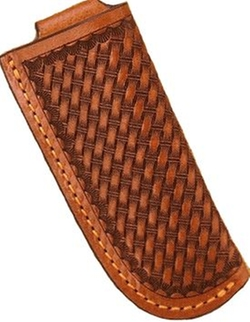 Wild West Living - Western Tan Leather Basketweave Knife Sheath