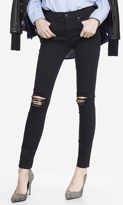 Express - High Waisted Distressed Knee Jean Legging