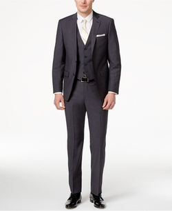 Calvin Klein  - Slim-Fit Neat Gray Vested Suit