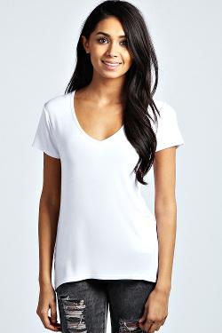Boohoo - India Basic V Neck Viscose Tee