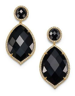 Mija - Black Onyx & White Sapphire Oval Marquis Drop Earrings