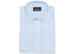 Tasso Elba  - Non-Iron Blue Twill Check French Cuff Shirt