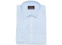 Tasso Elba  - Non-Iron Blue Twill Check French Cuff Shirt