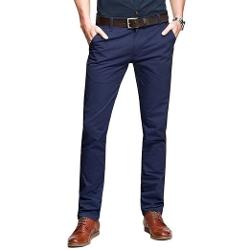 Ruaye - Casual Slim-Tapered Flat-Front Pants