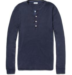 Schiesser   - Long-Sleeved Cotton-Jersey Henley T-Shirt