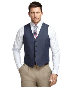 Brooks Brothers - Navy Linen Herringbone Vest