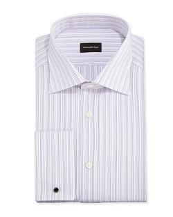 Ermenegildo Zegna  - French-Cuff Fine-Line Stripe Dress Shirt