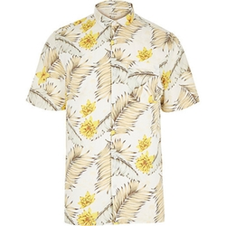 River Island - White Hawaiian Print Short Sleeve Shirt