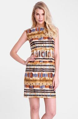Tahari  - Ikat Print Linen Sheath Dress