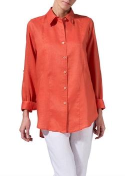 Vivid Linen  - Long Sleeve Uneven Hem Shirt