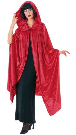 Costume Craze - Deluxe Red Velvet Gothic Hooded Cloak Cape