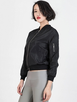 Choies - Black Zipper Detail Long Sleeve Bomber Jacket