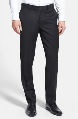Nordstrom - Flat Front Wool Gabardine Trousers