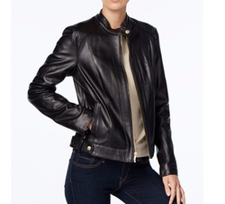 Cole Haan - Leather Snap-Button Moto Jacket