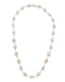 "Margo Morrison - Large Baroque Pearl & Crystal Necklace, 35""l"