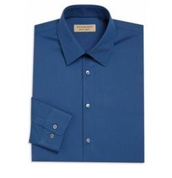 Burberry - Solid Slim-Fit Dress Shirt