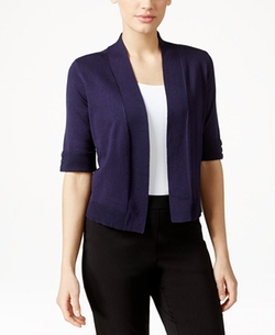 JM Collection  - Cropped Open-Front Cardigan