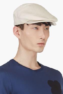 Burberry Prorsum  - Ecru Linen Flat Cap