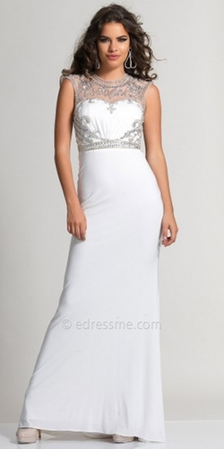 Dave and Johnny  - Grecian Inspired Illusion Back Prom Dress