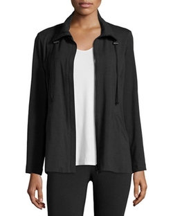 Eileen Fisher - High-Collar Stretch Jersey Jacket