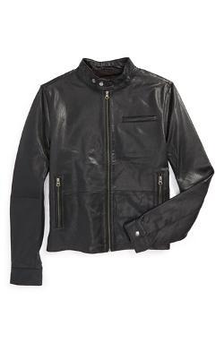 Topman  - Retro Leather Biker Jacket