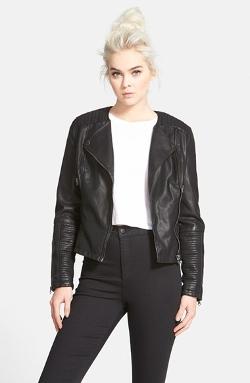 Topshop - Faux Leather Biker Jacket