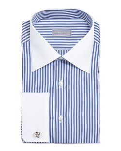 Stefano Ricci - Contrast-Stripe French-Cuff Dress Shirt, Blue/White