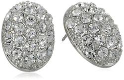 T Tahari - Crystal Pave Oval Stud Earrings