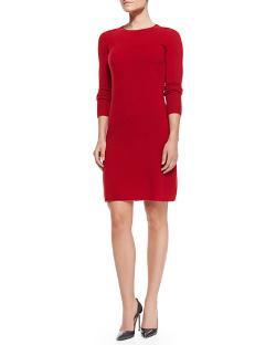 Neiman Marcus -  Crewneck Cashmere Sweaterdress