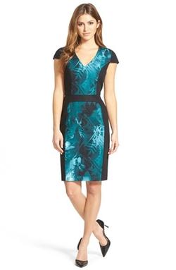 Adrianna Papell - Print Block Cap Sleeve Stretch Cotton Dress