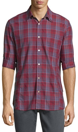 John Varvatos Star USA - Plaid Roll-Tab Sleeve Sport Shirt