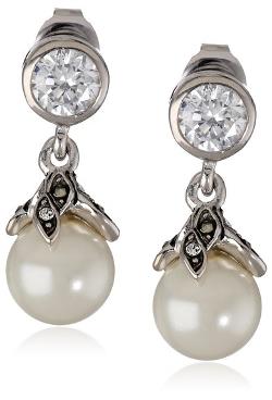"Judith Jack - ""Pearl Romance"" Swarovski Marcasite Pearl Drop Earrings"