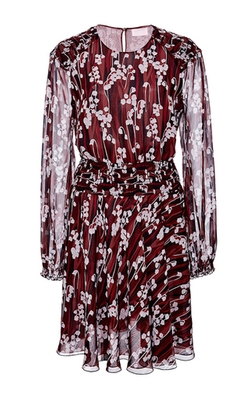 Giamba - Burgundy Silk Printed Mini Dress