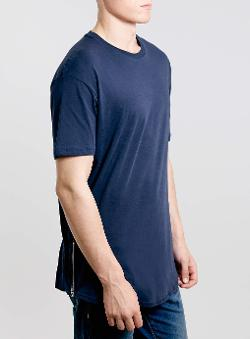 Topman - Navy Skater Zip T-Shirt