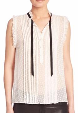 Joie  - Toledo Sleeveless Silk Swiss Dot Blouse
