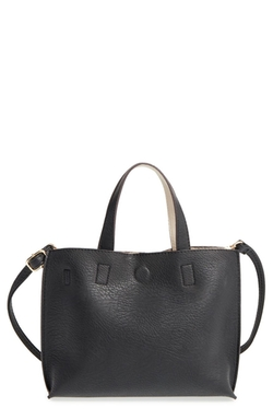Street Level  - Faux Leather Crossbody Mini Tote  Bag