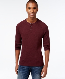 Vince Camuto  - Waffle-Knit Thermal Henley