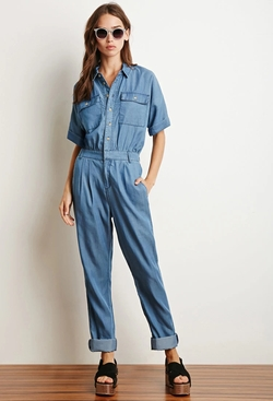 Forever21 - Buttoned Chambray Utility Jumpsuit