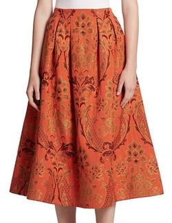 Alice + Olivia  - Luisa Damask A-Line Midi Skirt