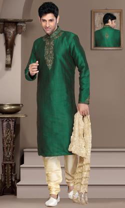 An initiative of fashion warehouse - Green mens kurta