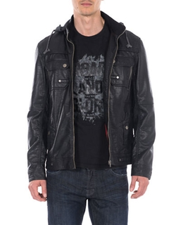 William Rast - Faux Leather Hooded Moto Jacket