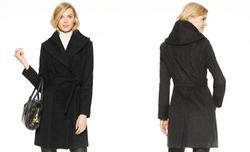 Calvin Klein  - Shawl-Collar Bouclé-Knit Wrap Coat