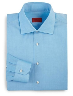 Isaia - Regular-Fit Solid Riva Cotton Dress Shirt